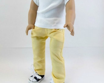 18 inch Doll Pants Fit American Girl Dolls  White T Shirt & Buttercup Yellow Jeans  Toys