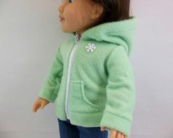 Fleece Hoodie Jacket Fits American Girl 18 inch Doll Light Green Fleece HoodieToys Girl