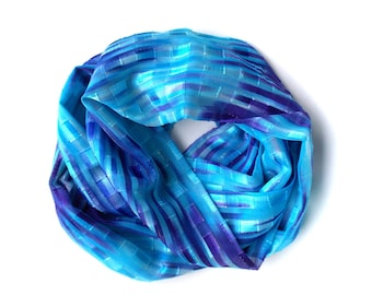 Spring Scarf, Blue and Purple Infinity Scarf, Lightweight Scarf, Scarf Necklace, Unique Fashion Scarves, Womens Scarves, Gifts Under 25