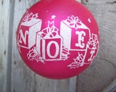 Shiny Brite Christmas NOEL Stenciled Jumbo Ornament Red with White Flocking Shiny Brite Ornament