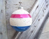 Shiny Brite Christmas Jumbo Ornament Sparkling White Flocking with Red, White and Blue Stripes