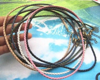 Antiqued Bronze finish--7pcs assorted 12-24 inch for your choose 3mm Pink braided GENUINE(REAL) leather choker necklace cords