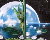 Frog Painting - frog art print, frog lovers, frog pond, lily pads, water lily painting, frogs and moon painting, frog decor,