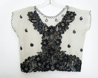 1950s BEADED Lace MEXICAN BLOUSE, crochet panel sheer crop top, size l - xl