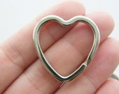2 Heart key rings 31 x 31mm silver tone