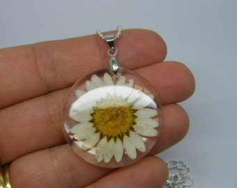 1 White dried flower resin pendant silver plated tone NB17