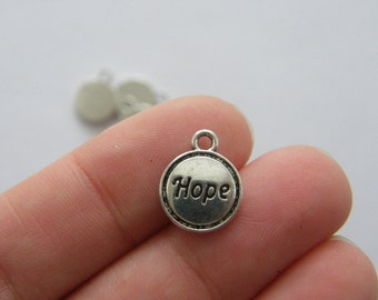 12 Hope charms antique silver tone M759