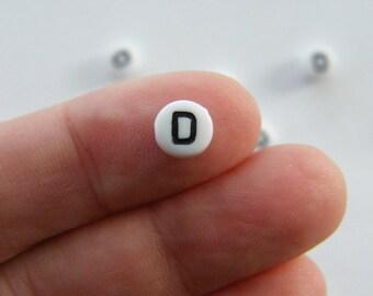 BULK 500 Letter D acrylic round alphabet beads
