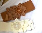 Chiffon Flower cinch belt, Wide elastic stretch corset belt, Ivory belt,Black belt, 3 inch wide belt,dressy belt, wedding belt