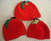 Apple Hats for Babies and Children Crocheted Bright Red with Stems and Leaves