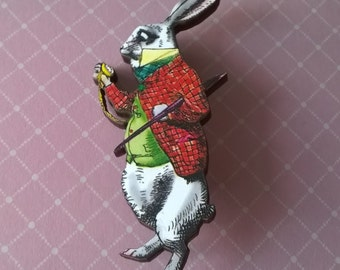 Alice in Wonderland Rabbit Brooch,Handmade Pin,Accessories,Alice in Wonderland Jewelry,Rabbit Brooch