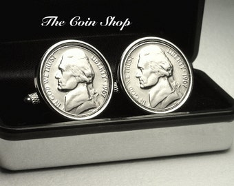 1967 - 50th Anniversary - Birthday Gift - Genuine Mint Quality U.S. Nickel Coin Cufflinks - FREE Cufflink Box - FREE & Reduced SHIPPING !