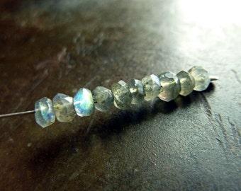 4mm natural Labradorite faceted rondelles - 10 pcs