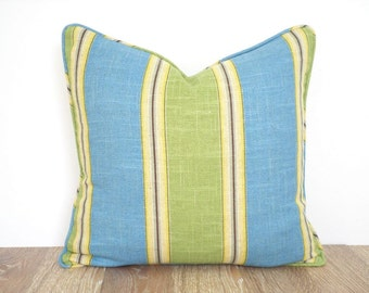 Turquoise pillow cover for beach house decor, green throw pillow with piping, block stripe cushion, block stripe pillow case green and teal