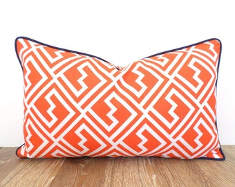 Orange lumbar pillow cover 20x11 , trellis sofa cushion, orange and blue pillow case graphic print, small bed pillow with accent piping