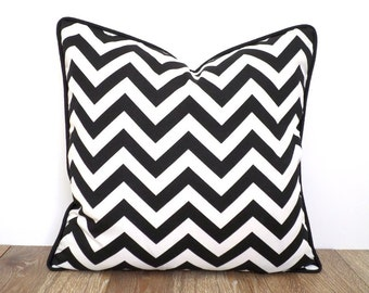 Black pillow cover 16x16, geometric cushion cover, chevron throw pillow, black and white pillow with piping, modern accent pillow