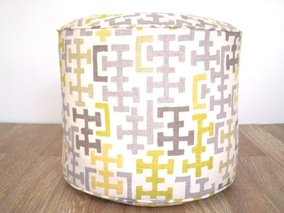Geometric round floor cushion living room seating, gray pouf ottoman dorm room decor, foot rest gift for her