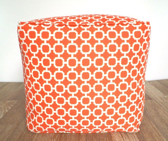items similar to outdoor bean bag chair cover 18 square orange pouf ottoman case large floor. Black Bedroom Furniture Sets. Home Design Ideas