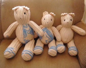 Chenille Teddy Bears - Set of 3 - Teddy Bears - Handcrafted Vintage Chenille