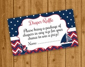 Nautical Red White Diaper Raffle, Nautical Baby Shower, Sailboat Raffle Ticket, Boy Baby Shower, Instant Download