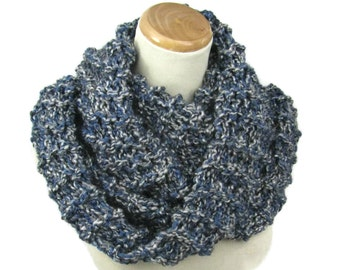 Infinity Scarf, Knit Scarf, Circle Scarf, Hand Knit Scarf, Cowl, Blue Gray Scarf, Snood, Gift Idea For Her, Fashion Accessory, Bulky Scarf