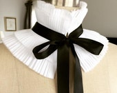 NEW Designer hand pleated collar/Feather like cotton/Can be worn two ways/High collar/Ruffled /Detachable collar/Black and White/Neck piece/