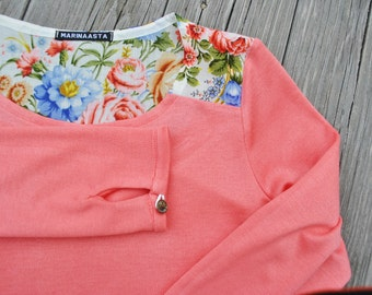 Valentina blouse/ Fine knit jumper/Coral floral jumper/ Designer clothing/Made in USA/ luxury gift