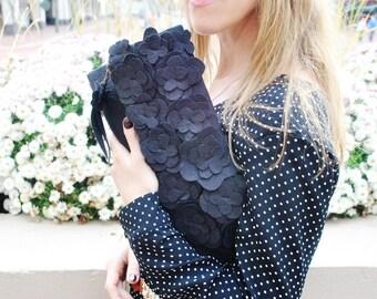 SALE Ready to ship Lidia Clutch- Black bridal clutch/Flowers applique clutch/Bridesmaid clutch/Under 40/Wedding clutch/Custom clutch/rusteam