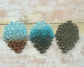 Seafoam lace earrings/ Lace earrings/ Long earrings/Ombre earrings/Ombre hand dyed/ rusteam, tt team