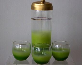 Blendo Green Glass Cocktail Shaker and Three Glasses/ Barware