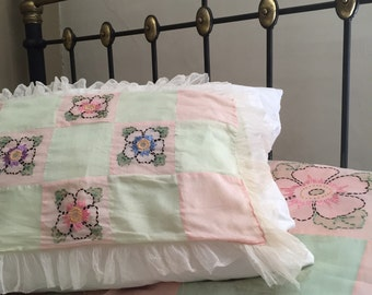 1930s coverlet full size bedspread summer weight pillow cover and dresser runner/ pale pink green ivory / cottage decor / cotton candy color