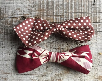 Vintage bow ties dapper accessories chocolate polka dots burgundy art deco