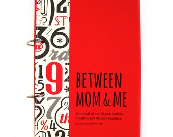 "Mom son journal, mom son letters, diary, scrapbook ""Between Mom & Me"" boys activity book in red"