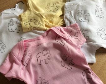 elephant printed white onesie 3-6 month size
