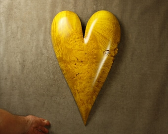 Yellow wood wall Heart special Wedding day gift wood carvings perfect wooden heart Will You Marry Me present by Gary Burns
