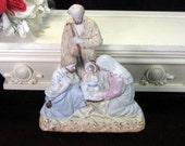 Antique Bisque Nativity Figurine, Joseph Mary Baby Jesus Shepard, Germany Continental Figurine, Victorian Decor, Shelf Mantle Figurine