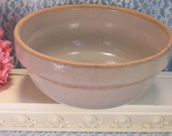 Antique Yellowware Yellow Ware, Stone Ware, Pottery Mixing Bowl, 1800s Victorian Kitchen Bowl, Primitive Mixing Bread, Excellent Condition
