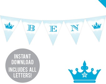 INSTANT DOWNLOAD Prince Party - DIY printable pennant banner - Includes all letters, plus ages 1-18