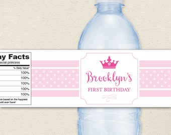Princess Party - 100% waterproof personalized water bottle labels