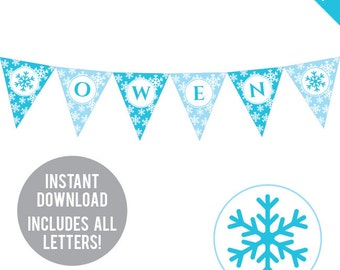 INSTANT DOWNLOAD Snowflake Party - DIY printable pennant banner - Includes all letters, plus ages 1-18