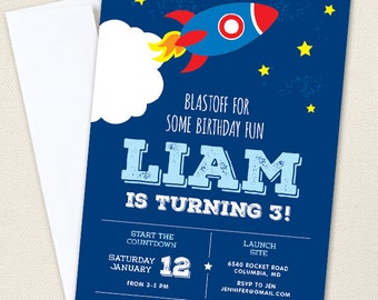 Rocket / Outer Space Party Invitations - Professionally printed *or* DIY printable