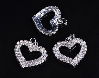 New 5pcs 27x23mm Silver Plated Crystal Rhinestones Heart Shape Charms Pendant Beads Jewelry Making Crafts Findings---DZ029-1