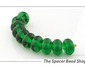 Emerald Green Lampwork Glass Beads Spacer Handmade - The Spacer Bead Shop