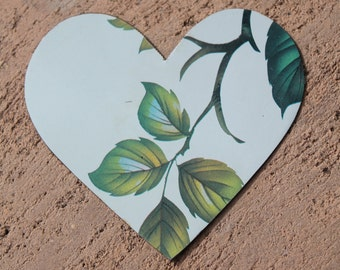 handmade heart cut from English serving tray with green leaves for altered art, mixed media, collage, jewelry, assemblage