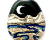 Flowing Arroyo : Handmade Lampwork Crescent Moon Desert Mountain Landscape Focal Bead