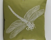 "Dragonfly Pillow Cover, Embroidery, Spring Pillow, Summer Pillow, Decorative Pillow, Accent Pillow, 18""x18"", Green, Ready to ship"