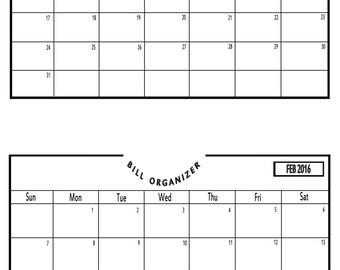 Bill Payment Calendar 2016 - Printable PDF