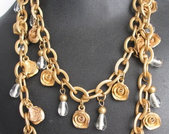 "SALE 40"" Vintage  Gold Tone Rose and Crystal Necklace"