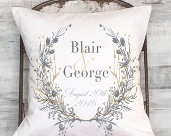 Wedding Gift Cotton Anniversary Gift Grey and Gold Wreath Pillow Cover
