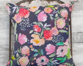 Pillow Cover Vibrant Navy Floral